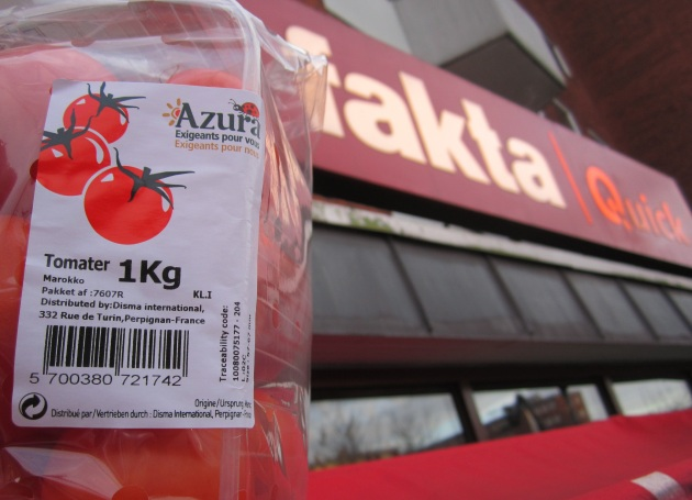 Azura tomater fra Fakta Quick i Søborg, 5 januar 2013 (Photo: Peter Kenworthy)
