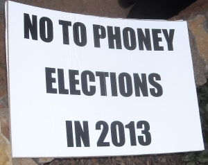 No to phoney elections 2013