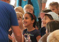 Kindergarten children visiting school