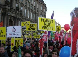 COP 15 demo in front of Danish parliament