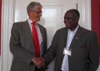 Danish Parliament Chair, Mogens Lykketoft, meets with PUDEMO President Mario Masuku