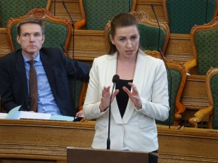 Danish Social Democrat leader Mette Frederiksen speaking in the Danish Parliament