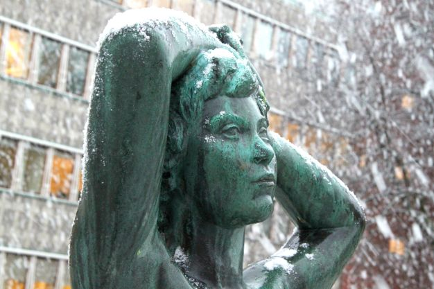 Statue in the snow
