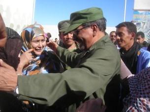 SADR President Abdelaziz greets people in Tifariti, Western Sahara