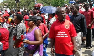 Thousands of workers demand better wages during march to Swazi PM's office in Mbabane today BLOG